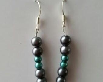 Dark gray and teal earrings