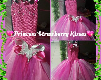 Princess Strawberry Kisses 5 layer Tutu dress