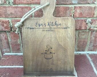 Wood Burned Custom Personalized Kitchen Recipe Holder iPad Stand
