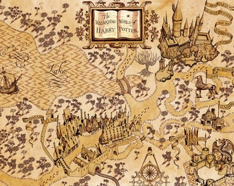 Harry Potter Inspired Wizarding World Map, The Wizarding World of Harry Potter Map Home Decor