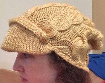 Gold Cable Knitted Hat with Bill