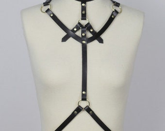 Classic Leather Body Harness - BLACK