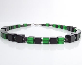Cube chain necklace in black green tones with Rhinestone side panels and stainless steel carabiner