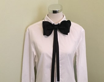 Black Victorian Necktie Collar Bow