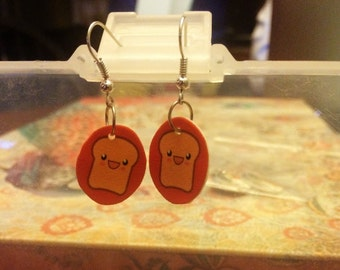 Kawaii Happy Toast Earrings