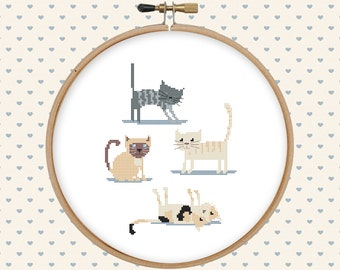 Cat cross stitch pattern pdf - instant download - animal cross stitch - kitten cross stitch - easy cross stitch pattern