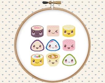Food cross stitch - kawaii cross stitch pattern - instant download - modern cross stitch - asian cross stitch - japanese cross stitch