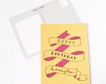 Handlettered Birthday Card - Happy Birthday Honeybee