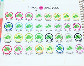 32 No Spend Stickers - Perfect for Erin Condren Life Planners / Journals / Stickers