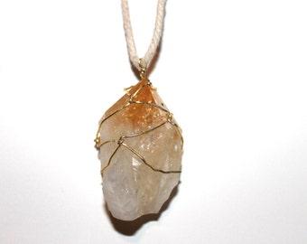 Large Citrine Cluster Hemp Necklace