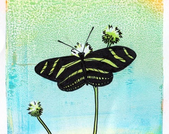 Zebrawing butterfly unframed original artwork pen and ink acrylic paint mixed media PRINT