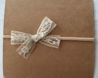 tan lace bow