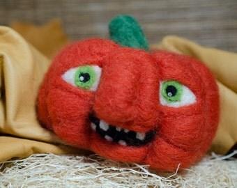 Wool Needle-Felted Pumpkin
