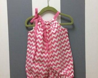 Pink Chevron Pillowcase Romper 0-6 month