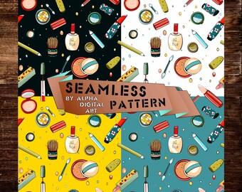 4 Cosmetics Seamless Pattern,Digital pattern, seamless paper, stripes pattern,Backdrop,Printable Geometric Background,Scrapbooking Paper