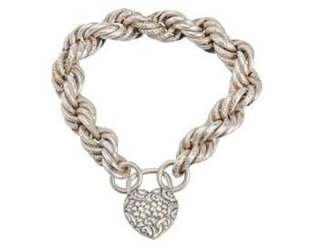 Silver Padlock Heart Bracelet - Vintage 1900's