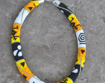 Necklace patterned Africa.African print Africa bead crochet rope