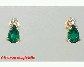 14k Emerald Earrings - Emerald Earrings - 14k Earrings - Vintage Emerald Earrings - Vintage Earrings - May Birthstone - Unique Gift