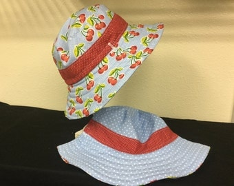 Child Hat Cherry retro print