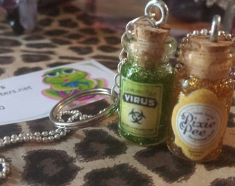 GLASS Vial Necklace or Keychain Mana Health Love Potion #9 Pixie Pee