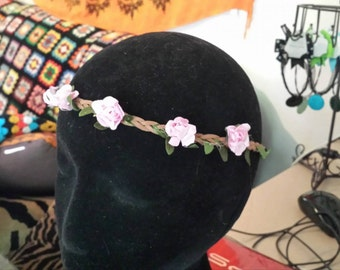 Pink Flower Garland Hairband Elastic