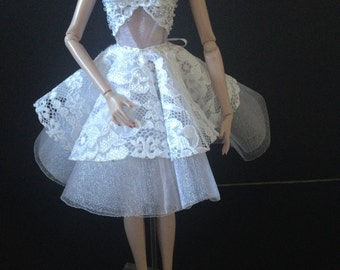 White lace dress for Barbie/FR