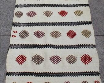 Extra long kilim rug, white striped kilim rug  30x2 ft