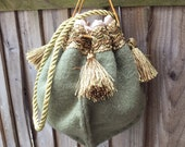 Medieval AngloSaxon Style Elegant Hand Bag Purse Pouch Handmade Wool  Satin Silk Novelty gift Handmade Handcrafted gift gift for her