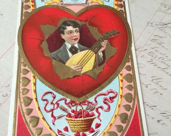 Victorian Valentine Postcard, Embossed, Bright Colors!