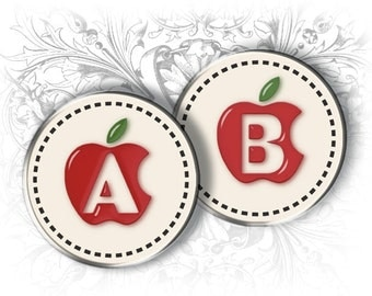 Apple Alphabet and Numbers 1 Inch Circles Digital Collage Sheet Ready to Print
