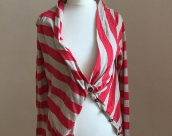 All saints red/white stripe cardigan