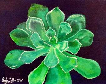 "Acrylic Succulent on Blue Background Giclee Print 9""x12"""