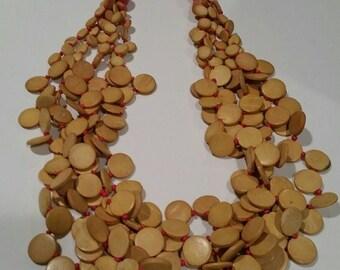 Vintage Wood Bead Statement Necklace (GB148)