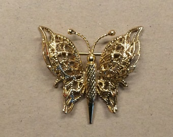 Vintage Monet Gold Tone Filigree Butterfly Brooch / Pin