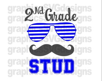 2nd Grade Stud SVG File For Cricut and Cameo DXF for Silhouette Studio Cutting File Back to school svg, Boy svg, 2nd Grade svg