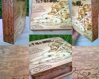Spirited Away Pyrographed Wooden Case w/ 100 tea bags