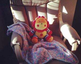 Crochet colored baby blanket