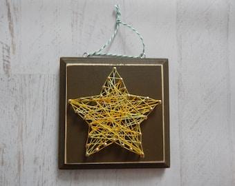 "Corbin's String Art...5""x 5"" Wood Plaque...Ready To Ship...Star"