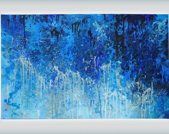"Large Abstract Blue Painting. 48"" x 30"" acrylic on stretched canvas, 1.5"" deep."
