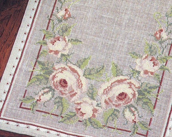 Permin ** Rose Table Runner ** cross stitch table linens design pattern - Very Pretty