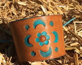 OOAK Handpainted Upcycled Leather Belt Cuff