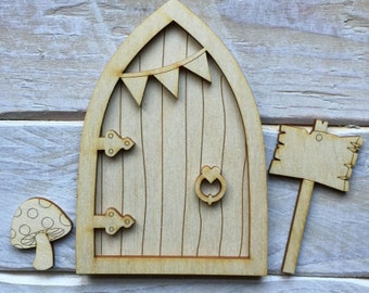 Wooden Fairy Door Blank Birch Pywood pixie Fairy Hobbit Elf door Kit ready to decorate KIT PB