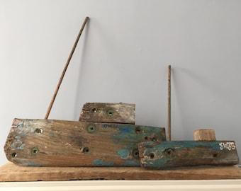 Cornish Sculpture of Listing Boats, Driftwood