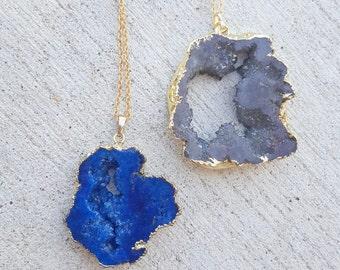 Druzy agate pendant necklace
