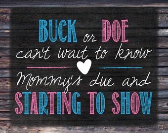 Buck or Doe Gender Reveal Sign - Cute Rustic/Hunting Printable Sign INSTANT DOWNLOAD