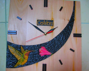 "Wooden Wall Clock, Natural Wood Clock. Clock ""Kolibri"". Home Clock ."