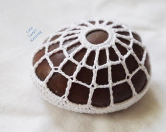 Crochet lace stone, crochet rock, crochet stone, crochet home decor stone, crochet net stone, crochet table accessories, nature inspired
