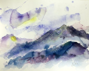 Abstract Mountainscape Watercolor Painting Giclée Print