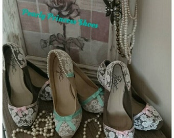 Custom designed Ivory lace with ribbon bow & pearl detailed shoes