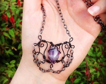 Gothic amethyst hand wire wrapped necklace with gun metal chain